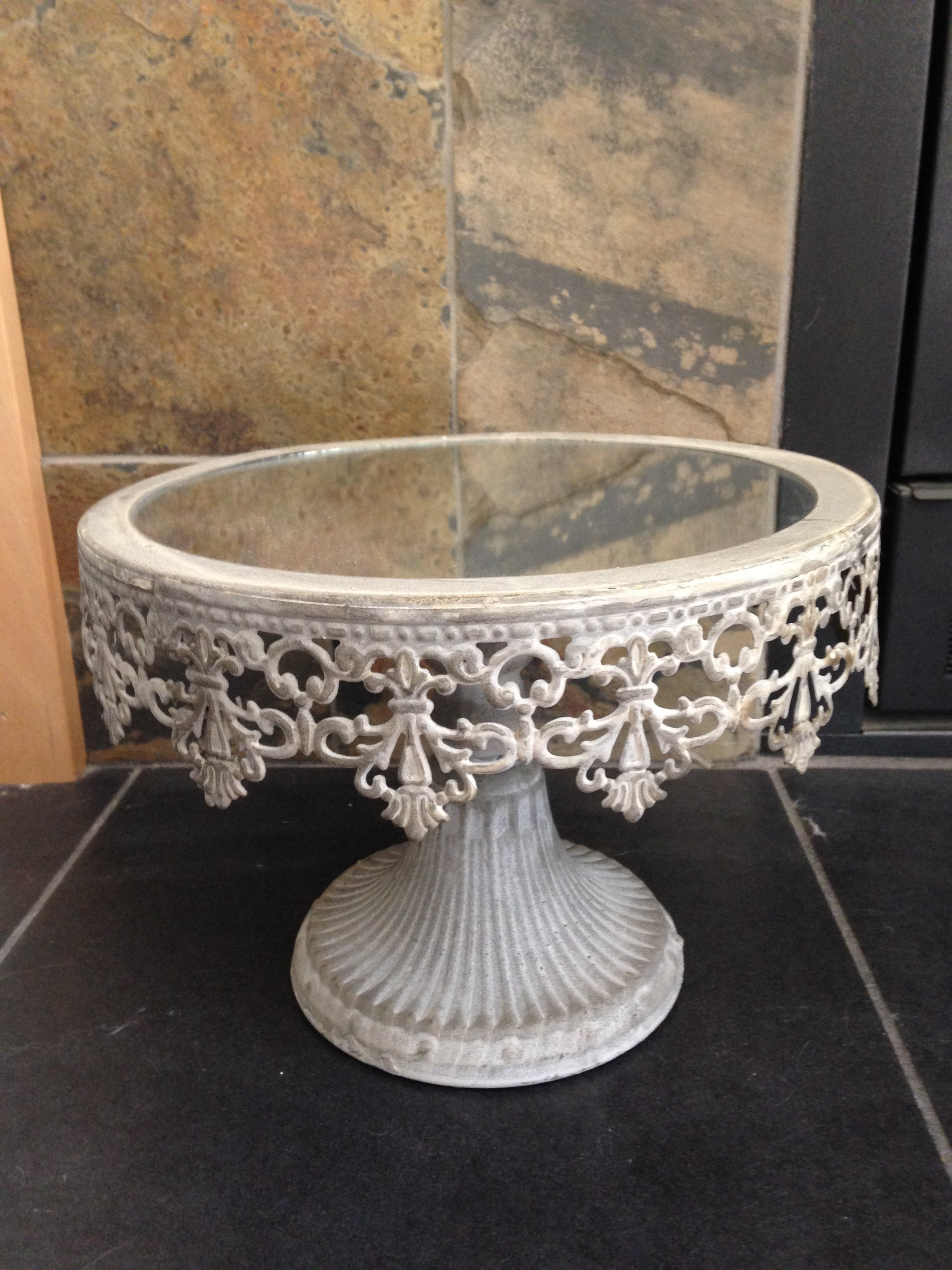 Small Vintage Metal Mirrored Cake Stand- This stand is approximately 6.5\  tall x 9.5\  wide mirror is 8\  across. & stand-small-mirror.jpg?width\u003d375\u0026height\u003d500