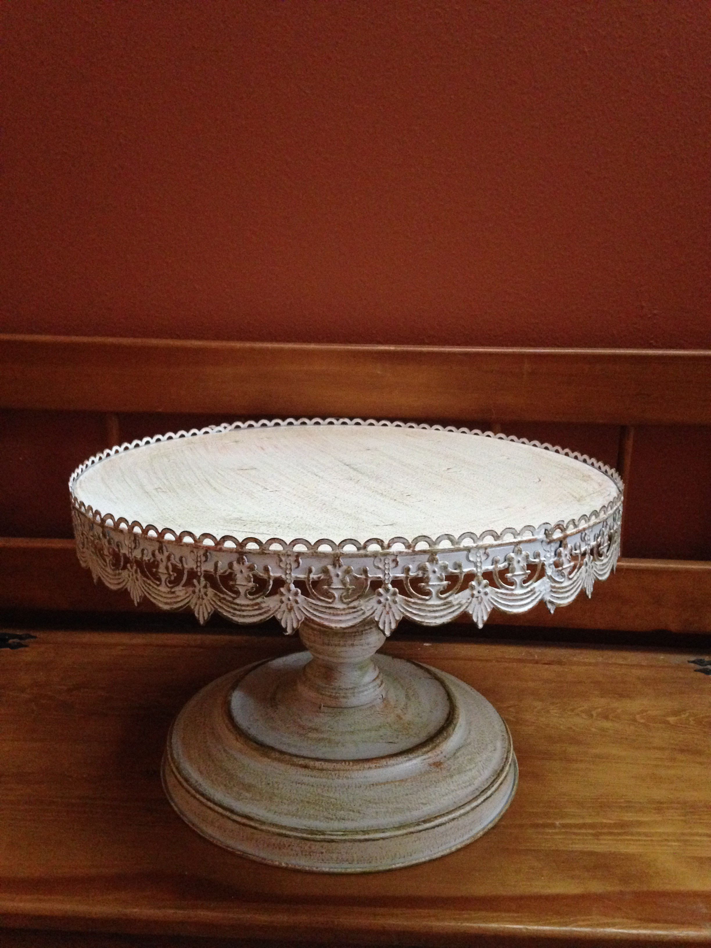 Large Vintage Metal Cake Stand - This stand measures 9.75\  tall (9.5\  to the cake plate) x 16.25\  across; cake surface is 16\  in diameter. & stand-large.jpg?width\u003d375\u0026height\u003d500